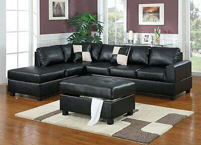 Miraculous Claremont Leather Sofa With Reversible Chaise Sectional Machost Co Dining Chair Design Ideas Machostcouk