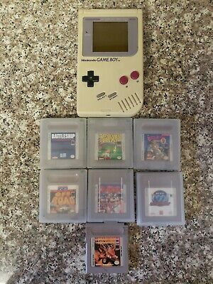 Original Nintendo Game Boy Gray System DMG-01 with 7 Games Lot Bundle Working
