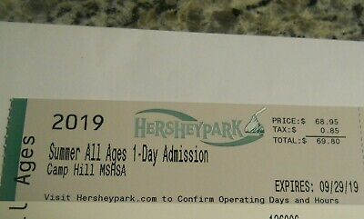 Hershey Park One Day All Ages Admission Ticket - Free Shipping-exp 9/29/19u