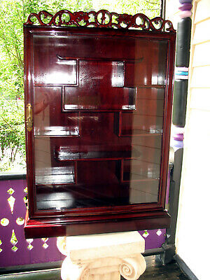 Chinese Rosewood Hand Carved Curio Display Cabinet Glass Door and Dovetailed