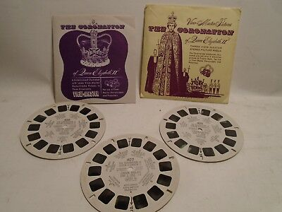 50's Vintage View-Master 3 Reel Packet #qepx The Coronation Queen Elizabeth Ii