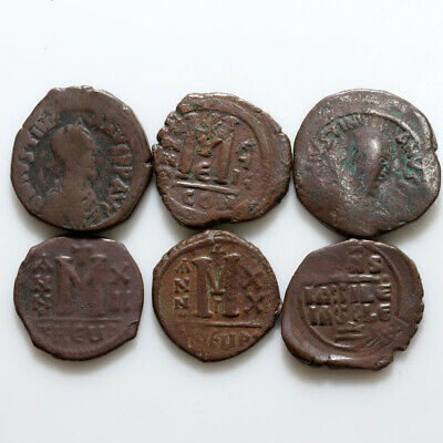 Nice Lot Of 6 Large Sizes Byzantine Coins CA 500-700 AD