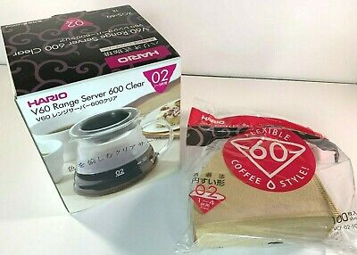 HARIO V60 Range Server Coffee Drip 600Ml XGS-60TB Japan NEW w/Bonus 100 Filters!