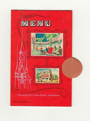 Vintage Disneyland Carnation ice cream parlor menu 1955 folds into postcard