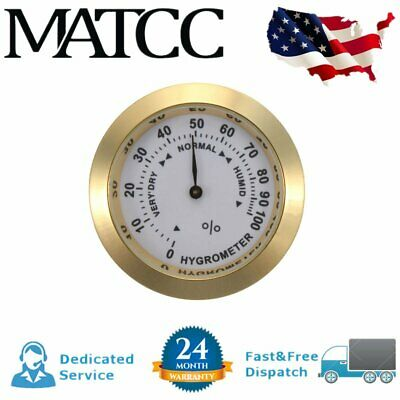 Brass Analog Hygrometer Cigar Tobacco Humidity Gauge &Glass Lens For Humidors
