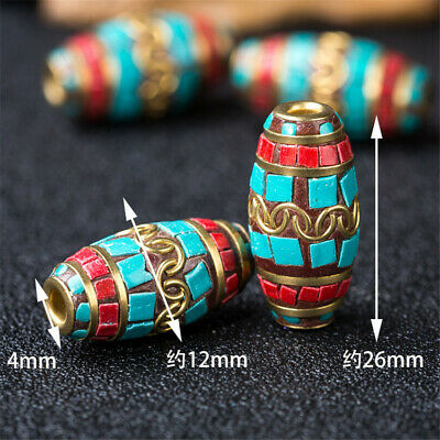 1Pcs Turquoise Copper Nepal Loose Beads Jewelry Making Colorful DIY Shining