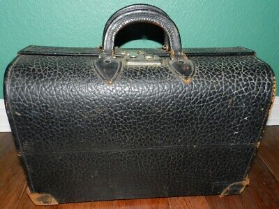 RARE Antique Leather Hard Case Doctor's Bag Early 1900's w/ A Few Accessories