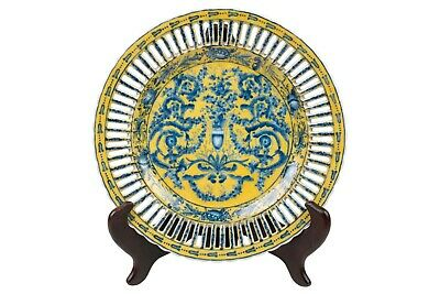 """Yellow and Blue Porcelain Chinoiserie Floral Plate 10"""" Diameter"""