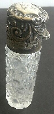 Perfume Bottle c1800's STERLING SILVER Cut Glass Hallmarked Birmingham & Stopper