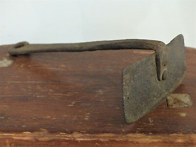 Early ANTIQUE 18th C PA DOUGH SCRAPER Wrought IRON Long Rat Tail FOLK ART #2
