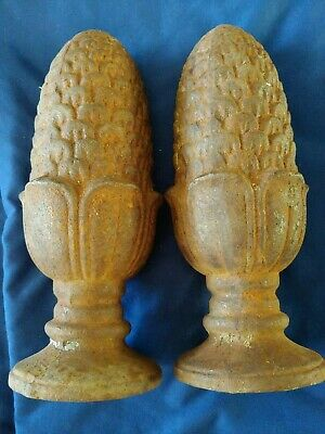 """Pair of Cast Iron Fence Post Gate Finial Toppers Pinecone Corn Acorn Design 9"""""""