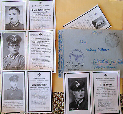 WW II 3.Reich Time 5 Germany Soldiers Deathcards from diffr. Soldiers + Envelop
