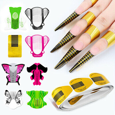 100Pcs Forms UV Gel Acrylic French Nail Art Tips Extension Guide Manicure Tool