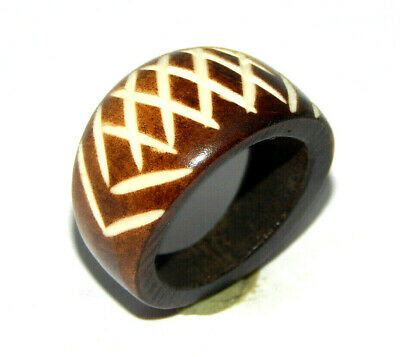 A++ 100% Natural Bone Carving Designer Handmade Fashion Jewelry Ring Size 9 R417