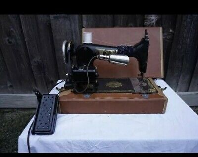 Vintage Singer Portable Electric Sewing Machine Black w/ gold detail