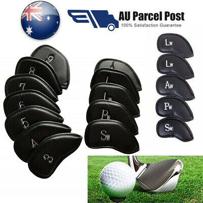 12Pcs Black Thick PU Leather Golf Iron Head Covers Putter  Headcovers Sets