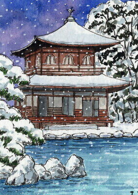 ACEO Original Watercolor Ginkakuji Japanese Temple Winter Night/Snow Line&Wash