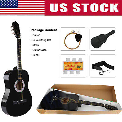 Acoustic Guitar with Guitar Case, Strap, Tuner & Pick Steel Strings Beginners US