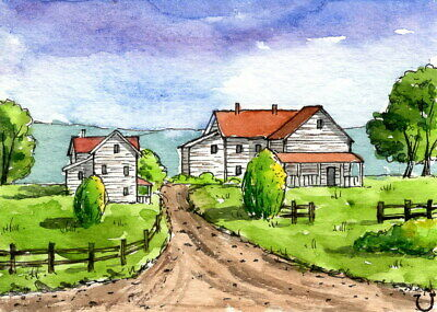 ACEO Original Watercolor Landscape Countryside Farm House/Line and Wash/Cottage