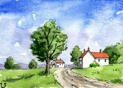 ACEO Original Watercolor Landscape Countryside Cottage/Line and Wash/ATC House