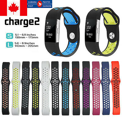 Fitbit Charge 2 Band Loops Double Color Replacement Strap Silicone Bracelet S-L