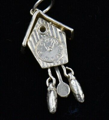 Vintage German Cuckoo Clock Sterling Silver Charm 925 3D MOVES Weights Pendulum