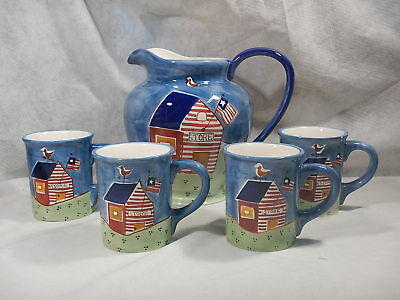 JC Penney Home Collection General Store Design Set Of Lg Pitcher And 4 Cups EUC