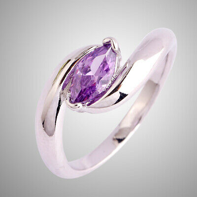 Engagement Marquise Cut 925 Silver Fashion Amethyst Solitaire Ring Size 6-11