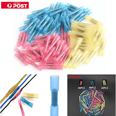 100Pcs Waterproof Heat Shrink Butt Wire Crimp Connectors Insulated Terminals Set