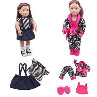 5pcs Clothes Shoes for 18'' inch American Girl Our Generation Dolls Pajamas Set