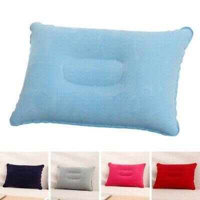 Inflatable Travel Camping Pillow Flocked Surface Soft Head Rest Cushion UK YYu