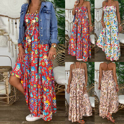 Women Ladies Boho Floral Off Shoulder Maxi Long Dress Holiday Party Beach Summer