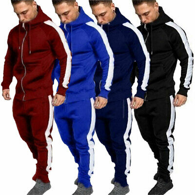 Men Hoodie Tracksuits Sportswear Tops Bottoms Jogging Gym Casual Trackies Suit