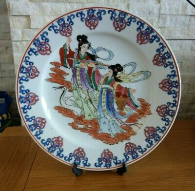 vintage chinese old colour enamels porcelain hand painting 2 women plate