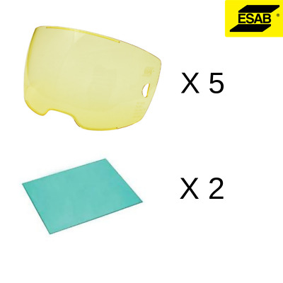 Esab Sentinel Front Lens Amber 5 Pack + 2 Inner Lens FREE DELIVERY WORLDWIDE