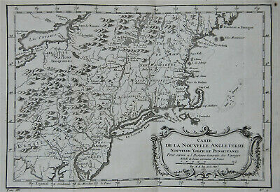 Bellin original 1757 French map of New England incl.Long Island, Lake Ontario