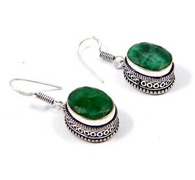 Dyed Emerald .925 Silver Plated Hand Carving Earring Jewelry JC9176