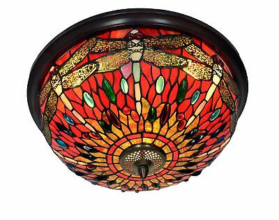 """Large 18"""" Wide 3 lights Red Dragonfly Tiffany Style  Flush Mount Ceiling Lights"""