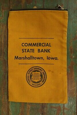 Antique 1920's-1930's Commercial State Bank Marshalltown Iowa Canvas Bank Bag