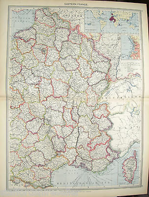 Antique Large Map c1906 Eastern France French Possessions Marseilles Corsica