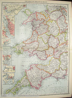 Antique Large Map c1906 West England Wales Ship Canal Liverpool Cardiff Bristol