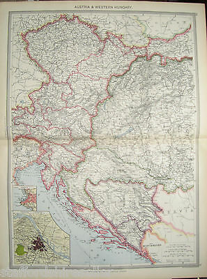 Antique Large Map Europe c1906 Austria West Hungary Inset Vienna Trieste