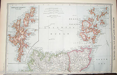 Antique Map Scotland c1906 British Isles Northern Scotland Orkney Shetland