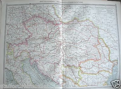 Antique Large Map Europe c1906 Austria-Hungary Industries & Communications