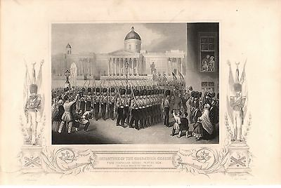 Antique Victorian Engraving Crimean War Vintage c1860 Departure Grenadier Guards