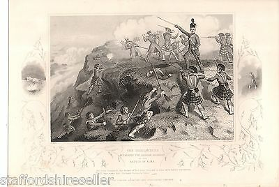 Antique Victorian Crimean War Print c1860 Highlanders Attacking Redoubt Alma