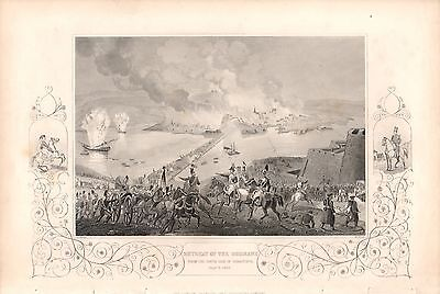 Antique Victorian Engraving Crimean War c1860 Russian Retreat South of Sebastopo