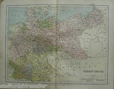 Antique Victorian Map Germany German Empire c1880 William Collins