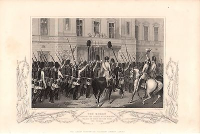 Antique Victorian Engraving Crimean War c1860 Queen Guards Buckingham Palace