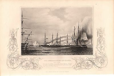 Antique Victorian Engraving Crimean War Vintage c1860 Bombardment  Odessa